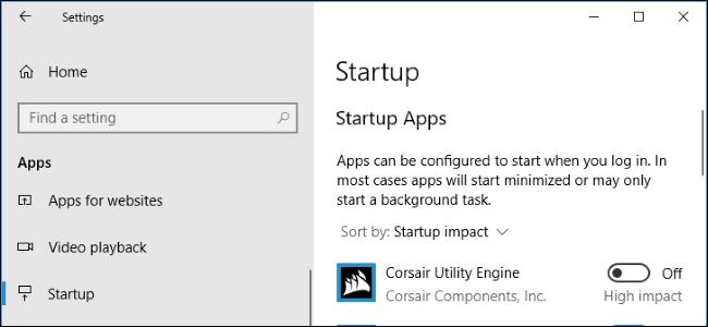 Cách quản lý chương trình khởi động trong ứng dụng cài đặt của Windows 10
